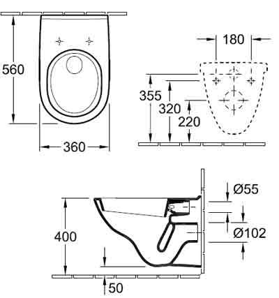 подвесной унитаз Villeroy Boch Novo 5660H101 схема.